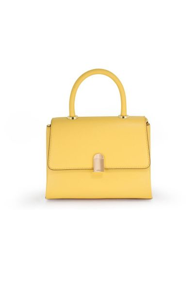 Zyros Women's Yellow Leather Hand Bag